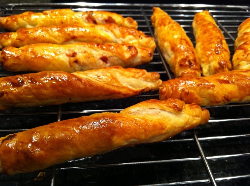 puff pastry twists filled with ham