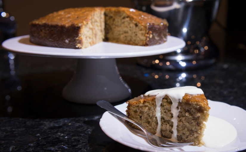 banana cake with walnuts and caramel