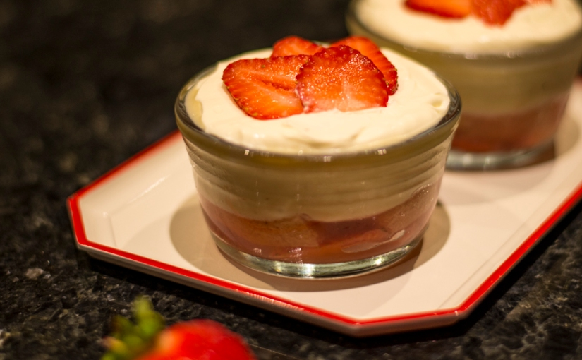 strawberry trifle flavored with tonka beans