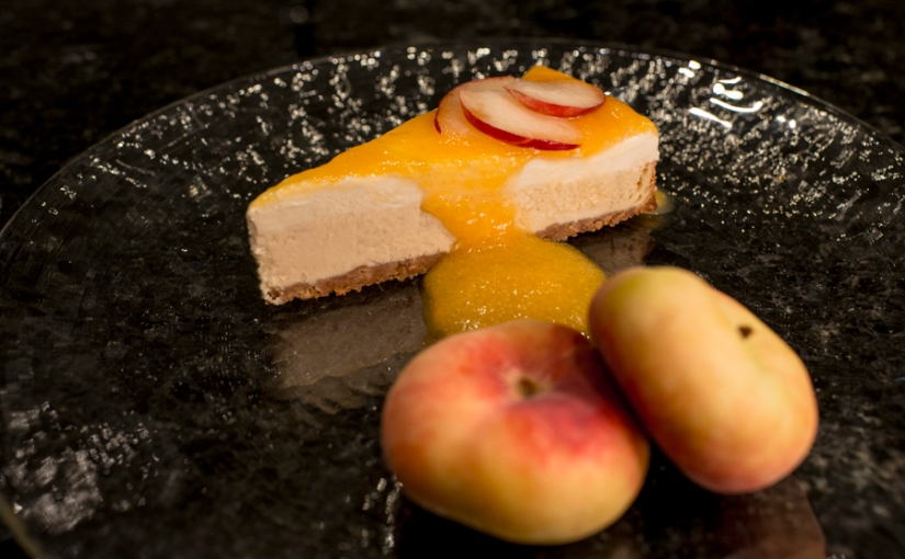 cheesecake with peach sauce